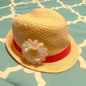 Girls Straw Fedora Hat